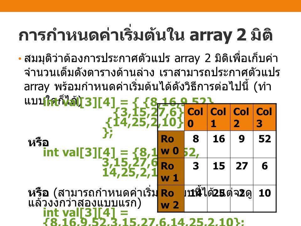 การกำหนดค่าเริ่มต้นใน array 2 มิติ