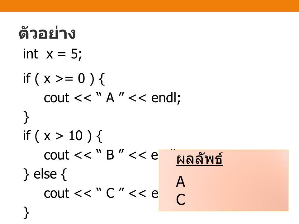 ตัวอย่าง int x = 5; if ( x >= 0 ) { cout << A << endl; } if ( x > 10 ) { cout << B << endl; } else { cout << C << endl;