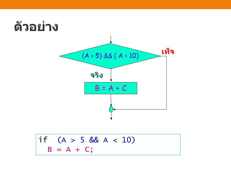 ตัวอย่าง เท็จ จริง B = A + C if (A > 5 && A < 10) B = A + C;