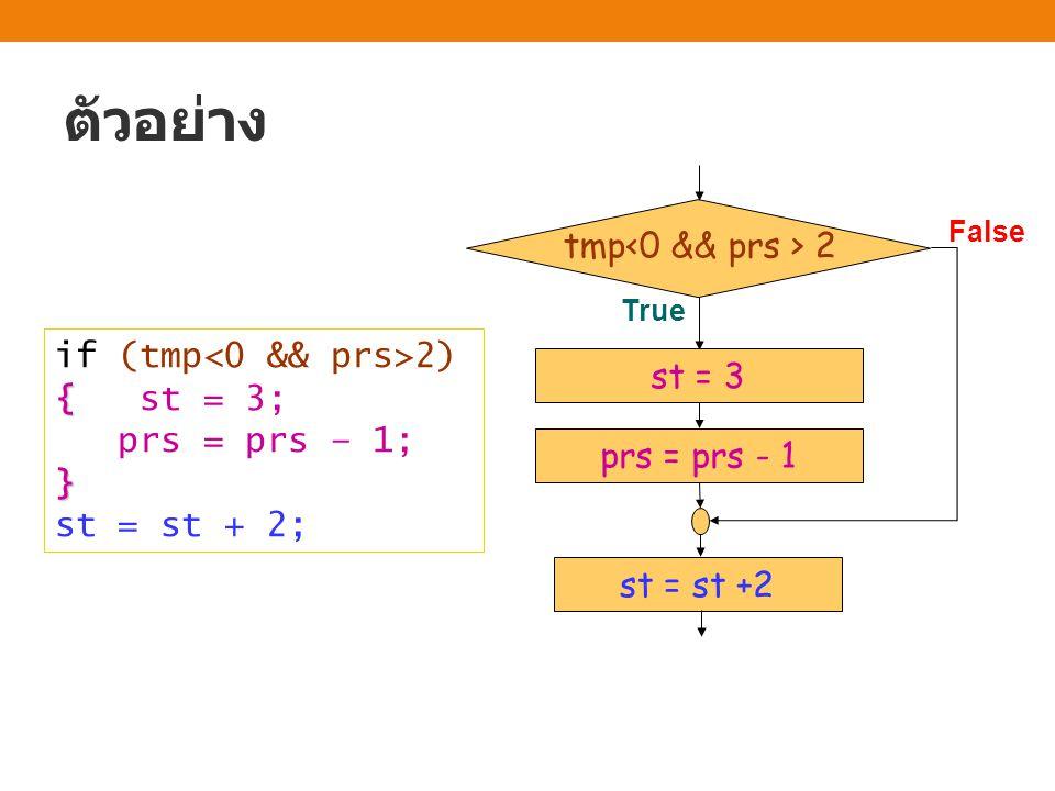 ตัวอย่าง tmp<0 && prs > 2 if (tmp<0 && prs>2) { st = 3;