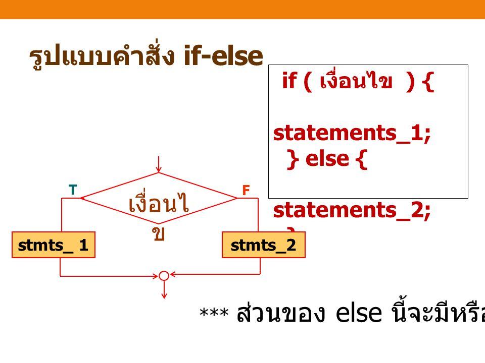รูปแบบคำสั่ง if-else เงื่อนไข statements_1; } else { statements_2; }