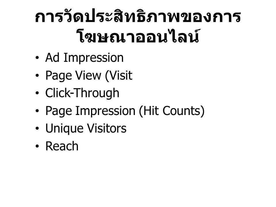 การวัดประสิทธิภาพของการโฆษณาออนไลน์
