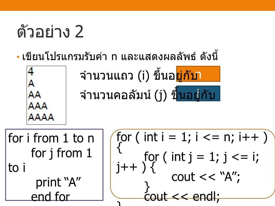 ตัวอย่าง 2 จำนวนแถว (i) ขึ้นอยู่กับ n จำนวนคอลัมน์ (j) ขึ้นอยู่กับ i