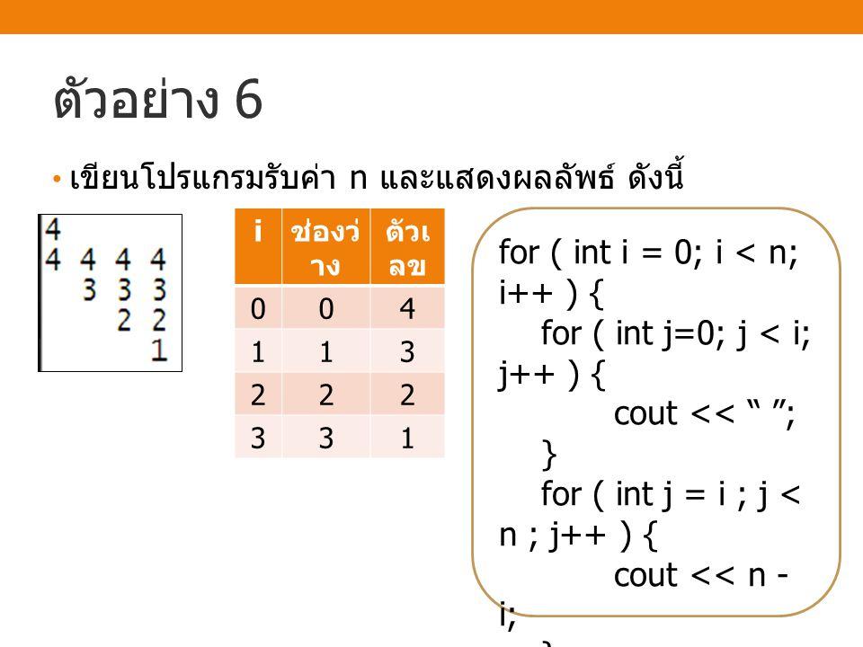 ตัวอย่าง 6 เขียนโปรแกรมรับค่า n และแสดงผลลัพธ์ ดังนี้