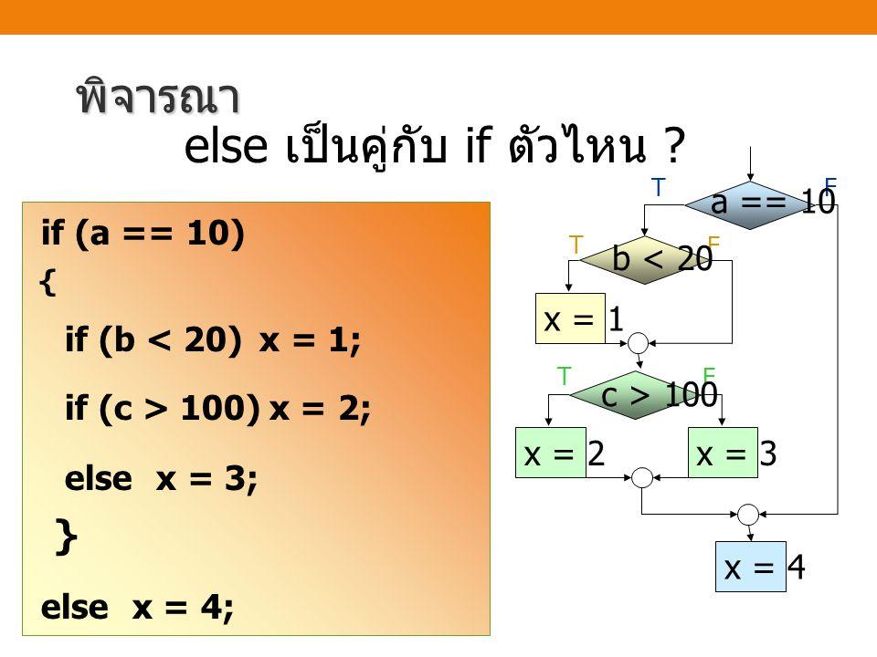 พิจารณา else x = 3; } else เป็นคู่กับ if ตัวไหน a == 10 c > 100