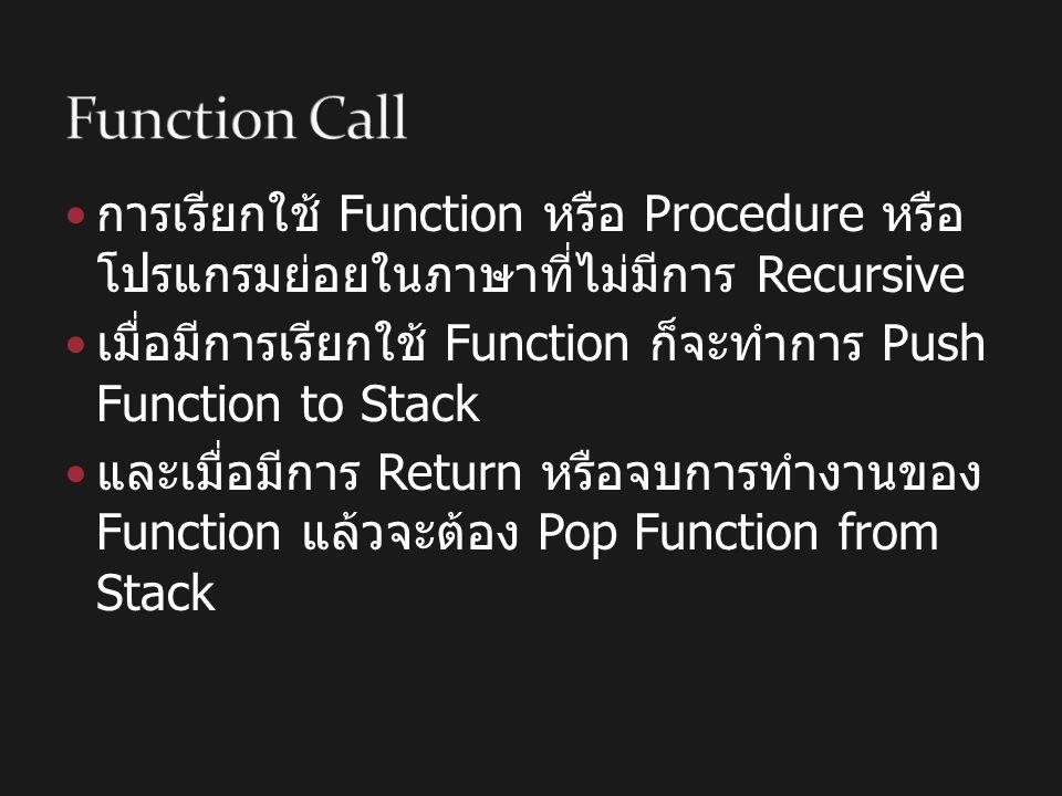 Function Call การเรียกใช้ Function หรือ Procedure หรือโปรแกรมย่อยในภาษาที่ ไม่มีการ Recursive.