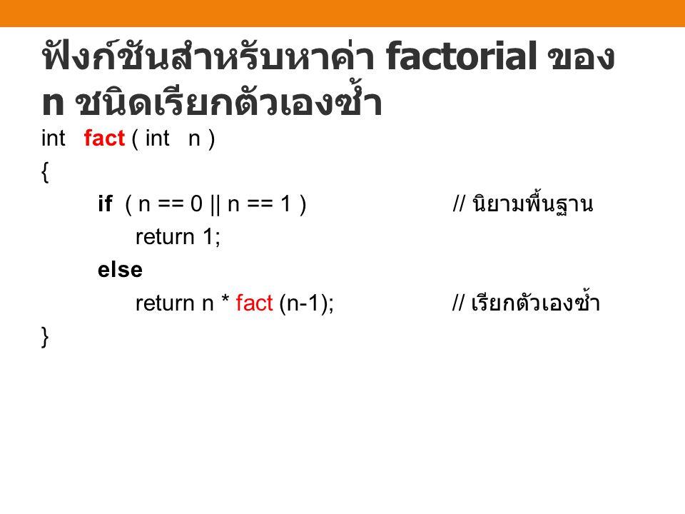 ฟังก์ชันสำหรับหาค่า factorial ของ n ชนิดเรียกตัวเองซ้ำ