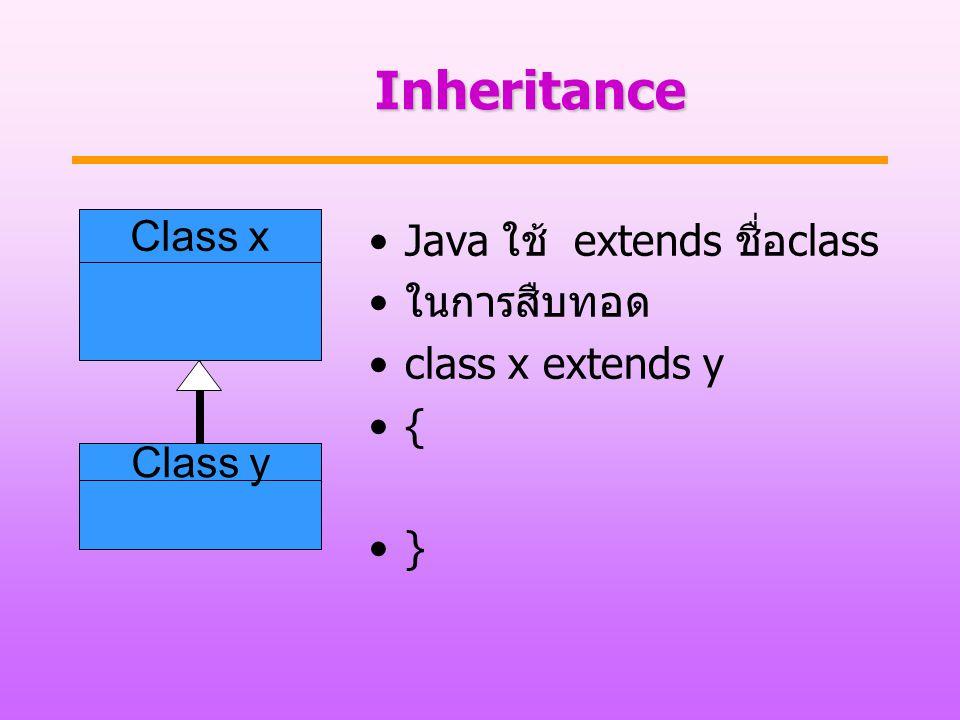 Inheritance Class x Java ใช้ extends ชื่อclass ในการสืบทอด