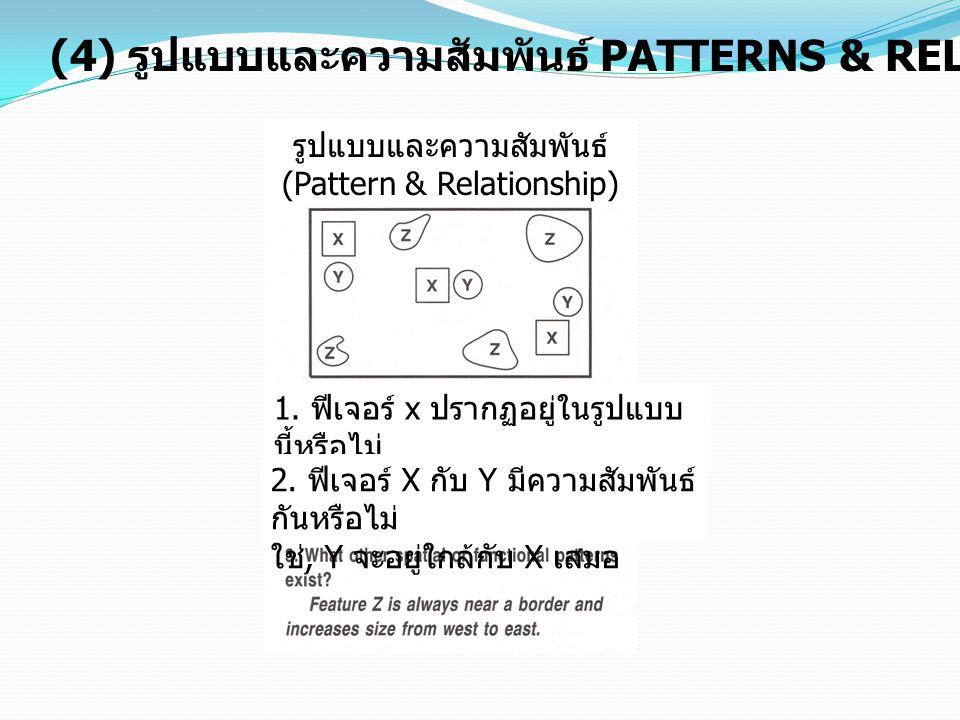 (4) รูปแบบและความสัมพันธ์ PATTERNS & RELATIONSHIPS