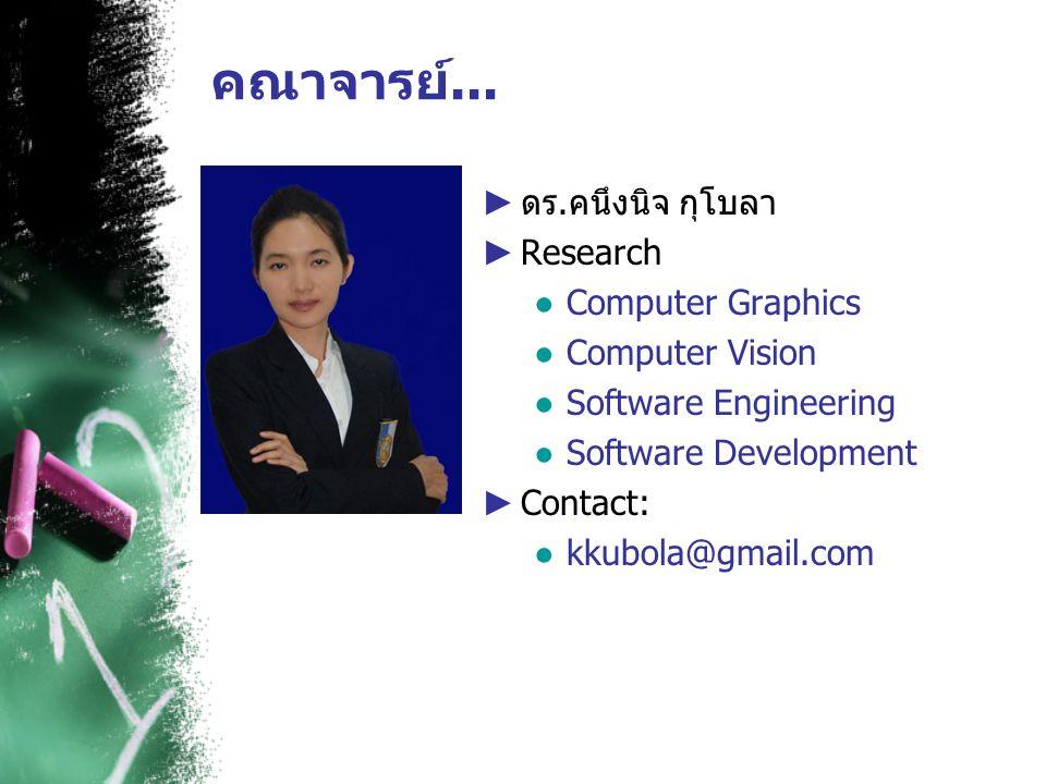 คณาจารย์... ดร.คนึงนิจ กุโบลา Research Computer Graphics