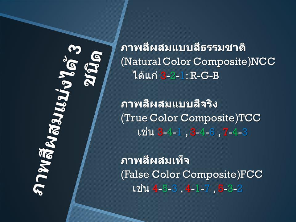 ภาพสีผสมแบบสีธรรมชาติ (Natural Color Composite)NCC ได้แก่ 3-2-1: R-G-B ภาพสีผสมแบบสีจริง (True Color Composite)TCC เช่น 3-4-1 , 3-4-6 , 7-4-3 ภาพสีผสมเท็จ (False Color Composite)FCC เช่น 4-5-3 , 4-1-7 , 5-3-2