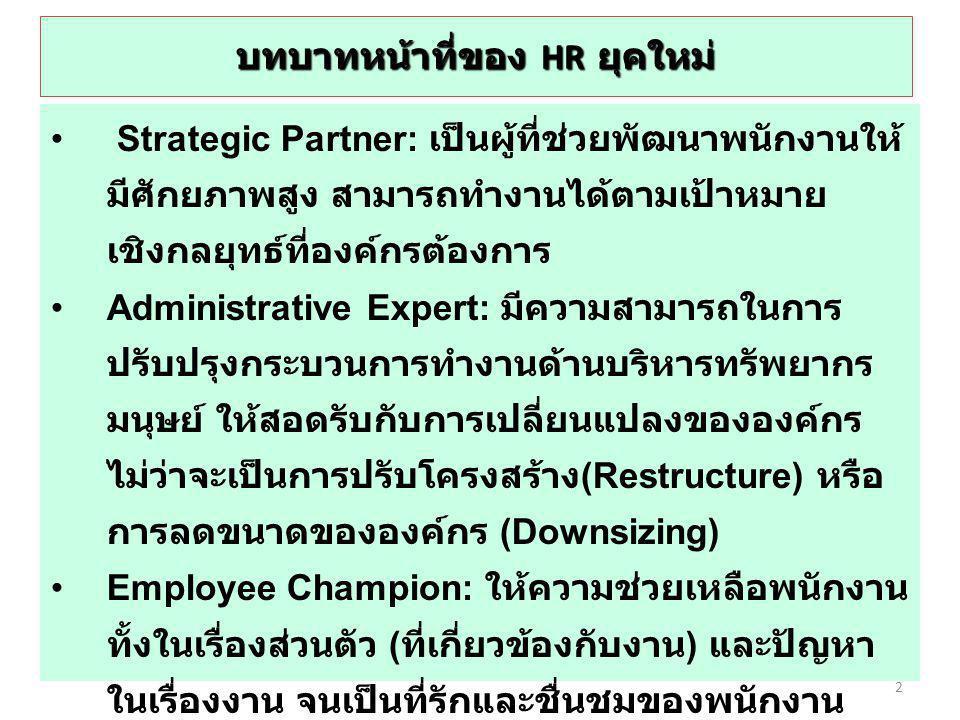 บทบาทหน้าที่ของ HR ยุคใหม่