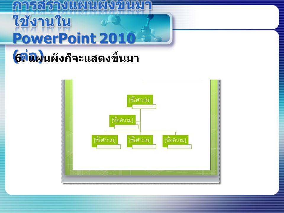 การสร้างแผนผังขึ้นมาใช้งานใน PowerPoint 2010 (ต่อ)