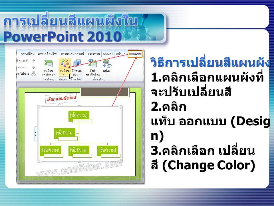 การเปลี่ยนสีแผนผังใน PowerPoint 2010