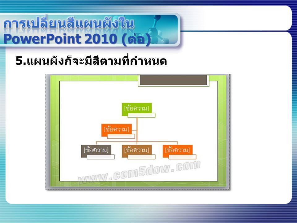 การเปลี่ยนสีแผนผังใน PowerPoint 2010 (ต่อ)