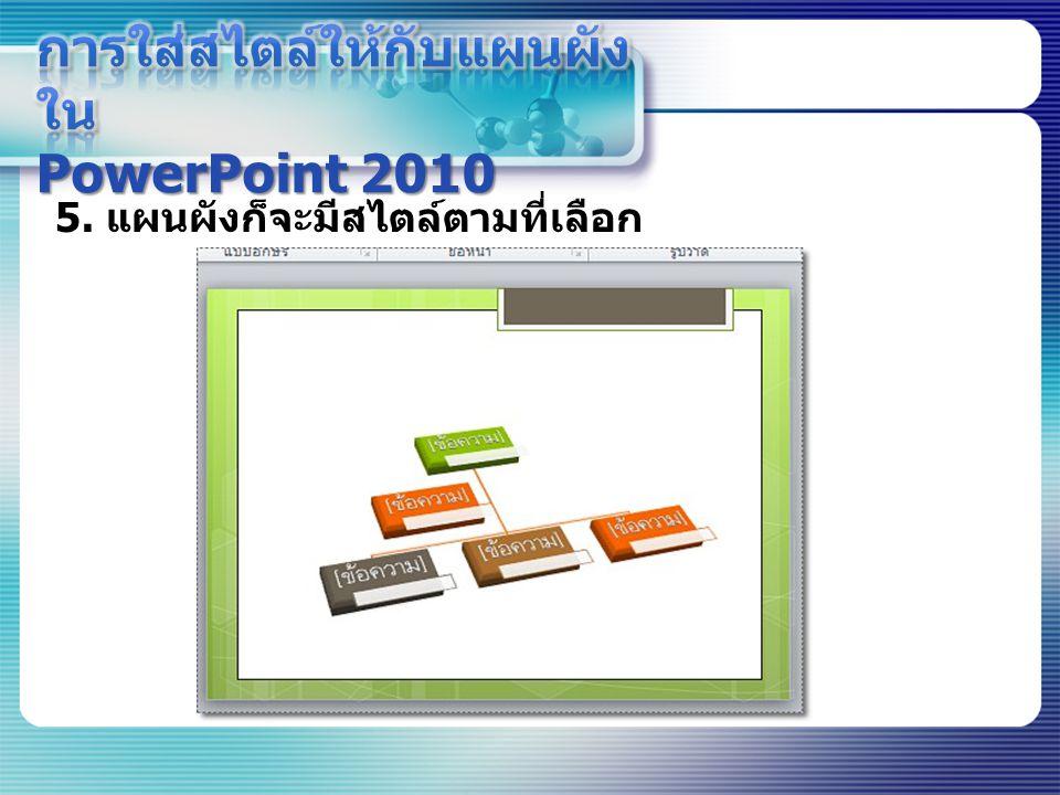 การใส่สไตล์ให้กับแผนผังใน PowerPoint 2010