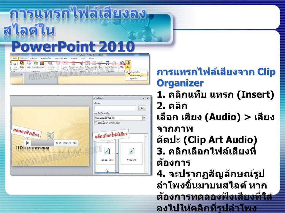 การแทรกไฟล์เสียงลงสไลด์ใน PowerPoint 2010