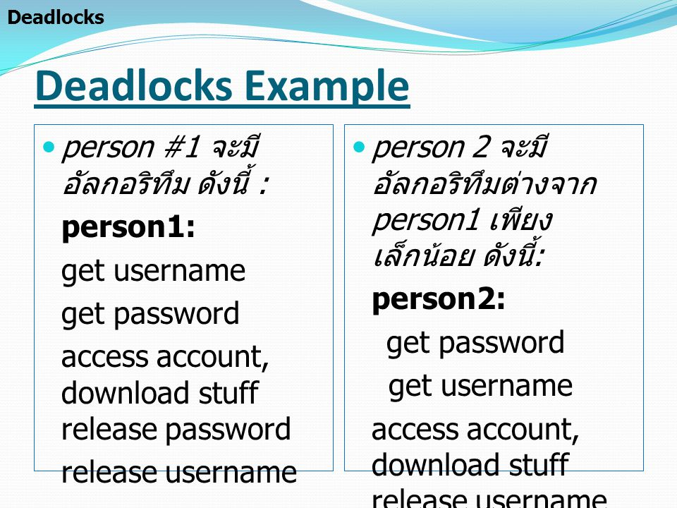 Deadlocks Example person #1 จะมีอัลกอริทึม ดังนี้ : person1: