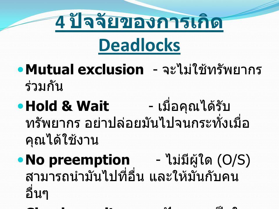 4 ปัจจัยของการเกิด Deadlocks