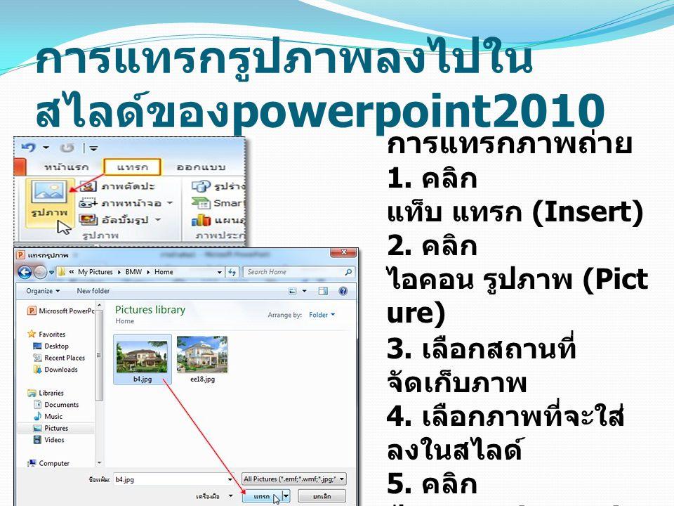 การแทรกรูปภาพลงไปในสไลด์ของpowerpoint2010