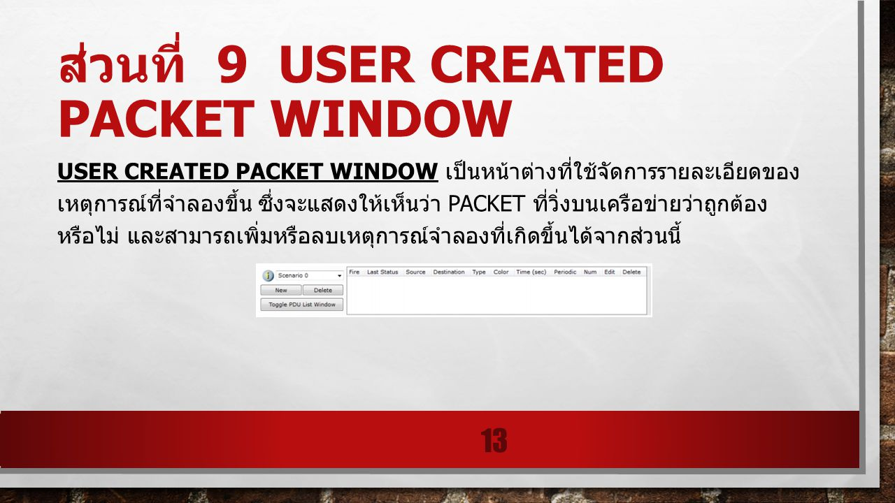 ส่วนที่ 9 User Created Packet Window