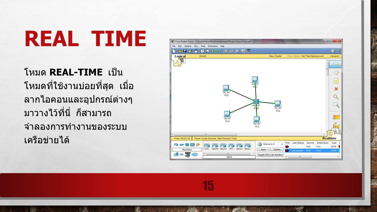 Real time โหมด Real-time เป็น โหมดที่ใช้งานบ่อยที่สุด เมื่อลากไอคอนและอุปกรณ์ ต่างๆมาวางไว้ที่นี่ ก็ สามารถจำลองการทำงาน ของระบบเครือข่ายได้
