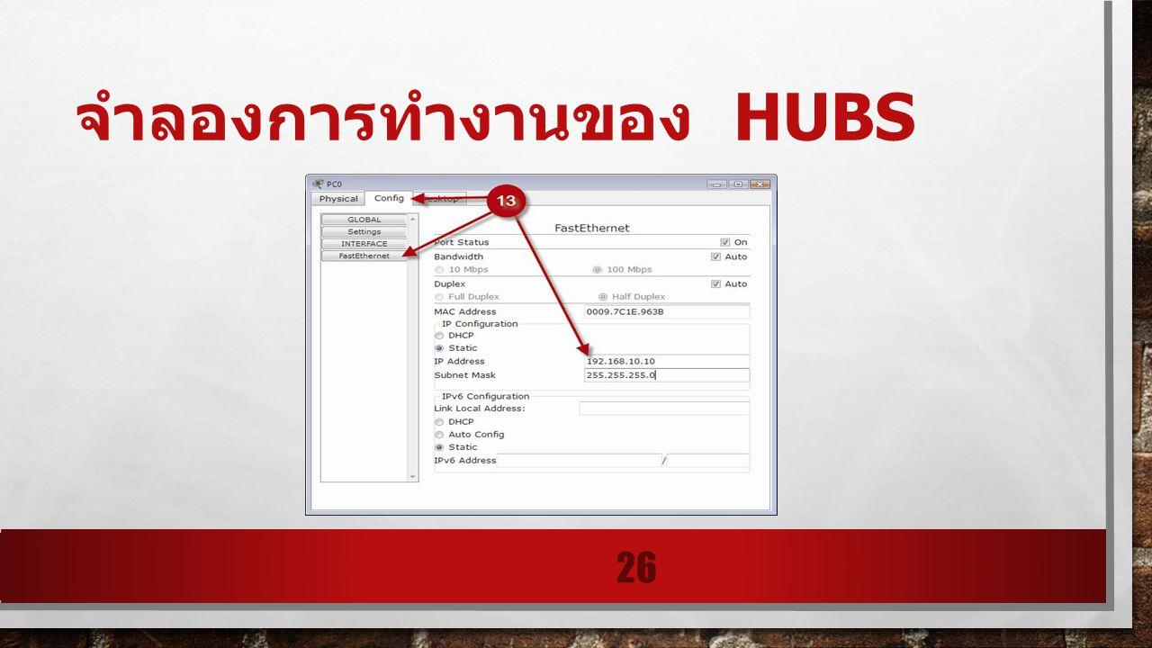 จำลองการทำงานของ hubs