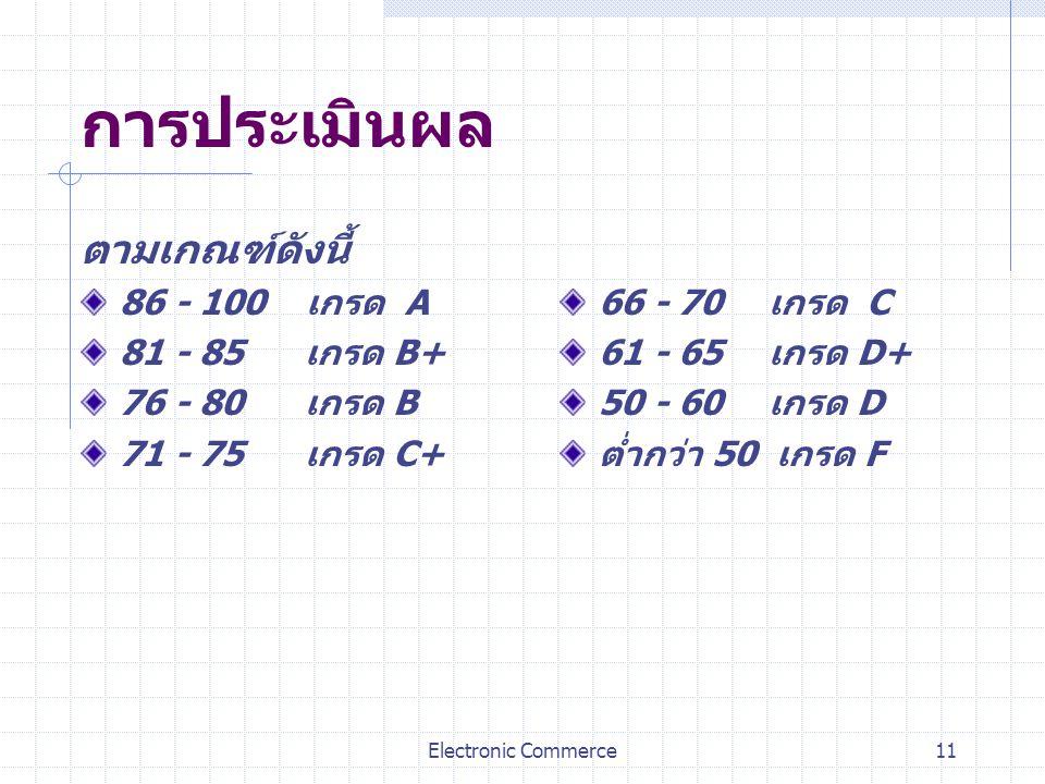 การประเมินผล ตามเกณฑ์ดังนี้ 86 - 100 เกรด A 81 - 85 เกรด B+