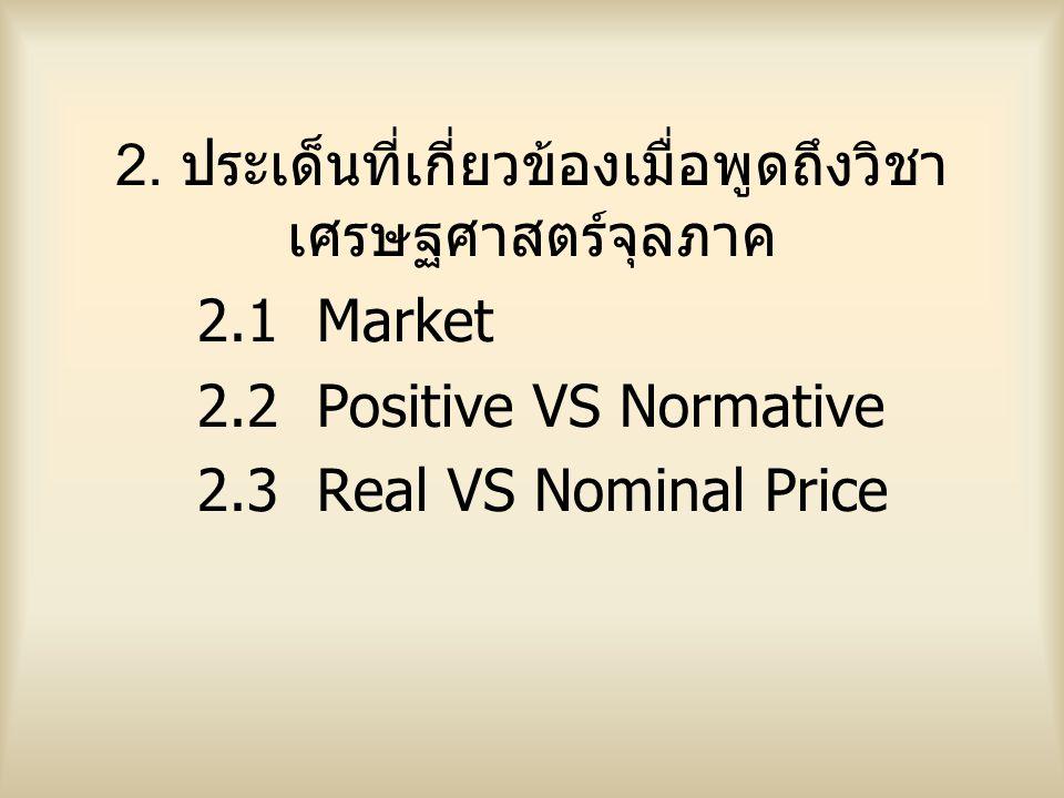2. ประเด็นที่เกี่ยวข้องเมื่อพูดถึงวิชาเศรษฐศาสตร์จุลภาค