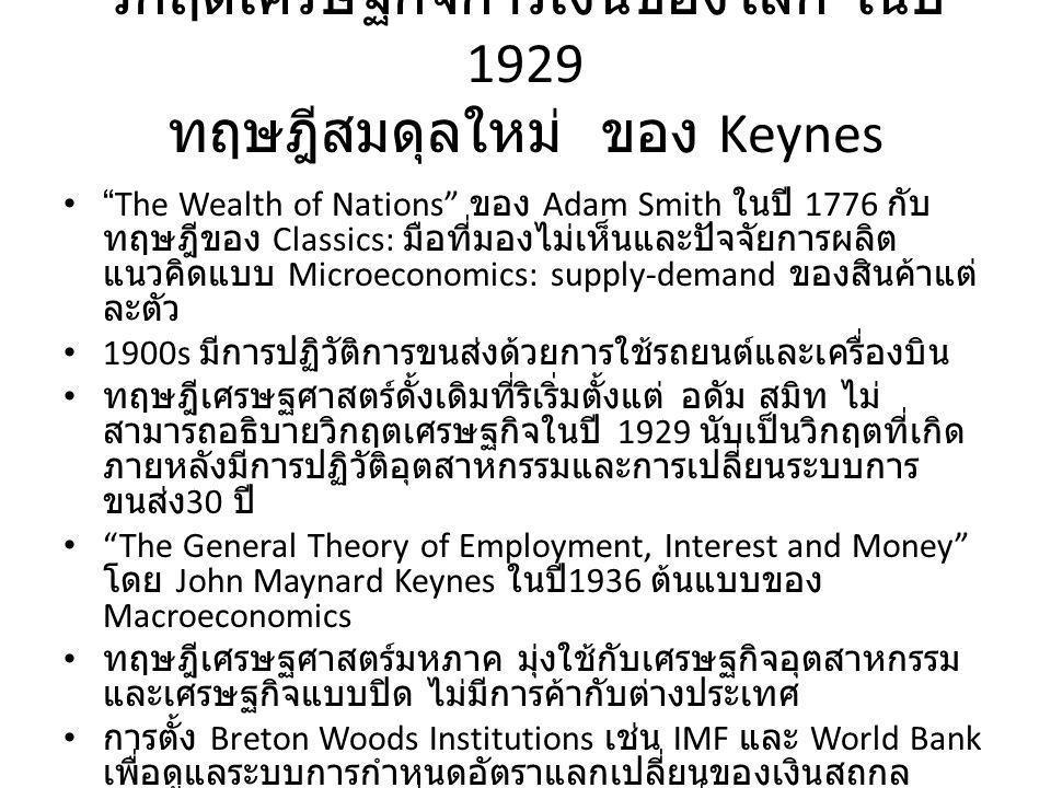 วิกฤตเศรษฐกิจการเงินของโลก ในปี 1929 ทฤษฎีสมดุลใหม่ ของ Keynes