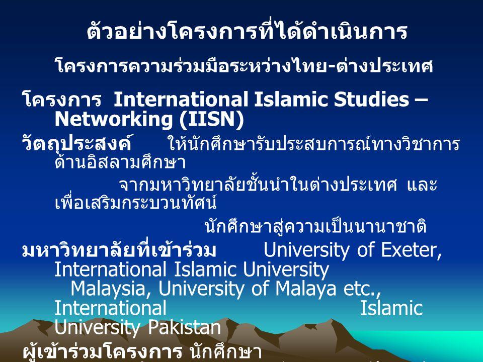 ตัวอย่างโครงการที่ได้ดำเนินการ โครงการความร่วมมือระหว่างไทย-ต่างประเทศ