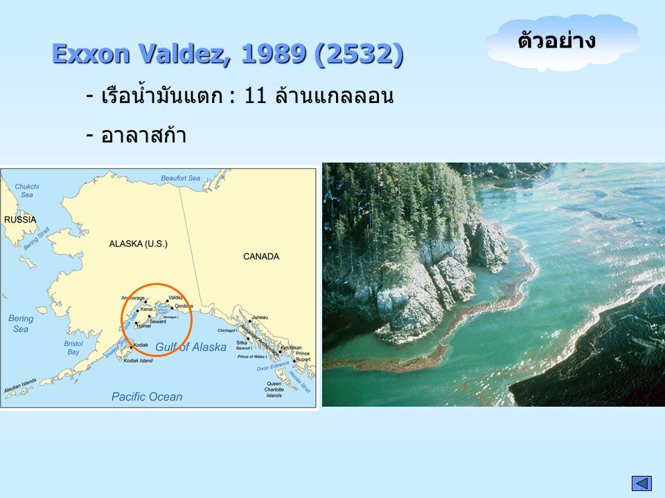 Exxon Valdez, 1989 (2532) ตัวอย่าง - เรือน้ำมันแตก : 11 ล้านแกลลอน
