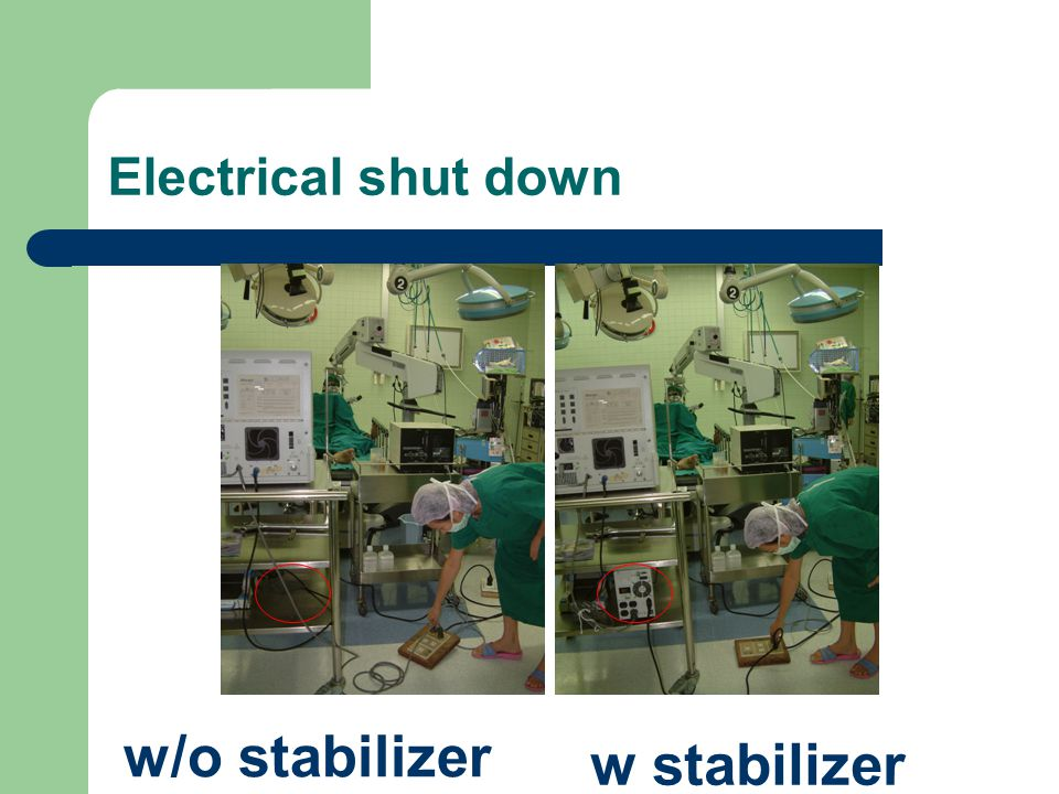 Electrical shut down w/o stabilizer w stabilizer