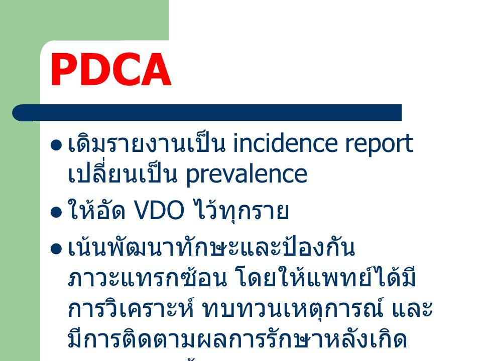 PDCA เดิมรายงานเป็น incidence report เปลี่ยนเป็น prevalence