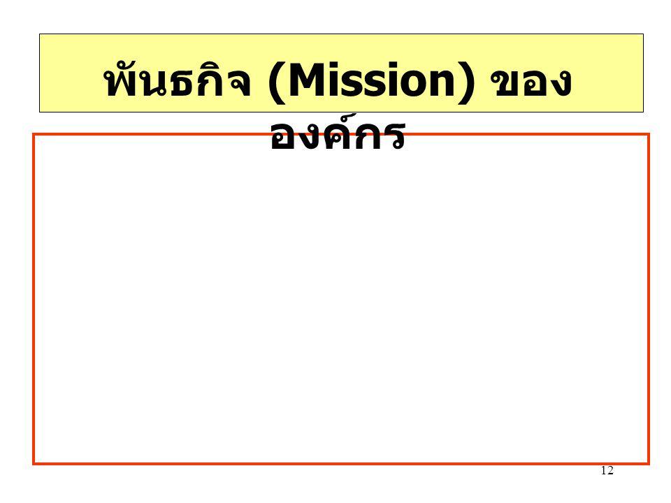 พันธกิจ (Mission) ขององค์กร