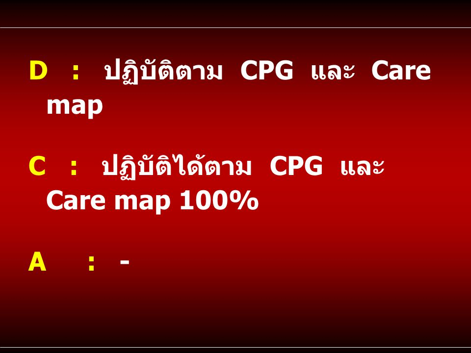 D : ปฏิบัติตาม CPG และ Care map