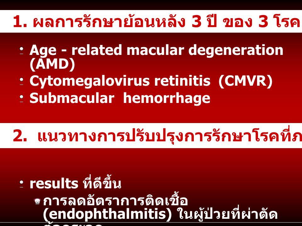 1. ผลการรักษาย้อนหลัง 3 ปี ของ 3 โรคยาก (ระดับ tertiary care)