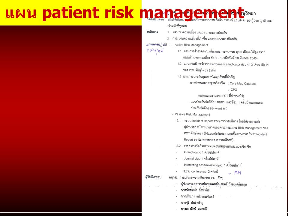 แผน patient risk management