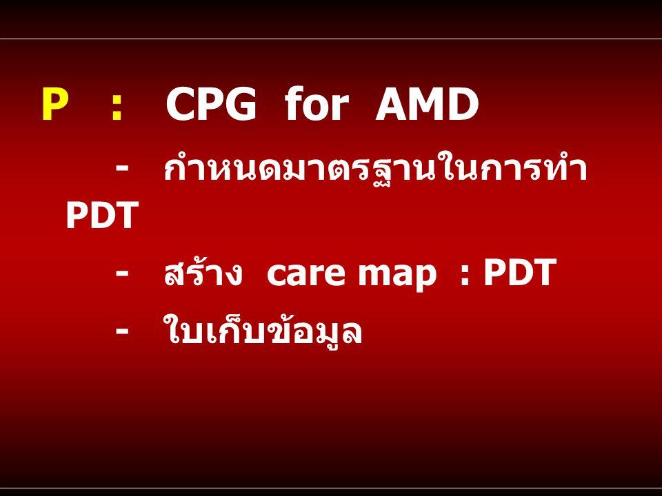 P : CPG for AMD - กำหนดมาตรฐานในการทำ PDT - สร้าง care map : PDT