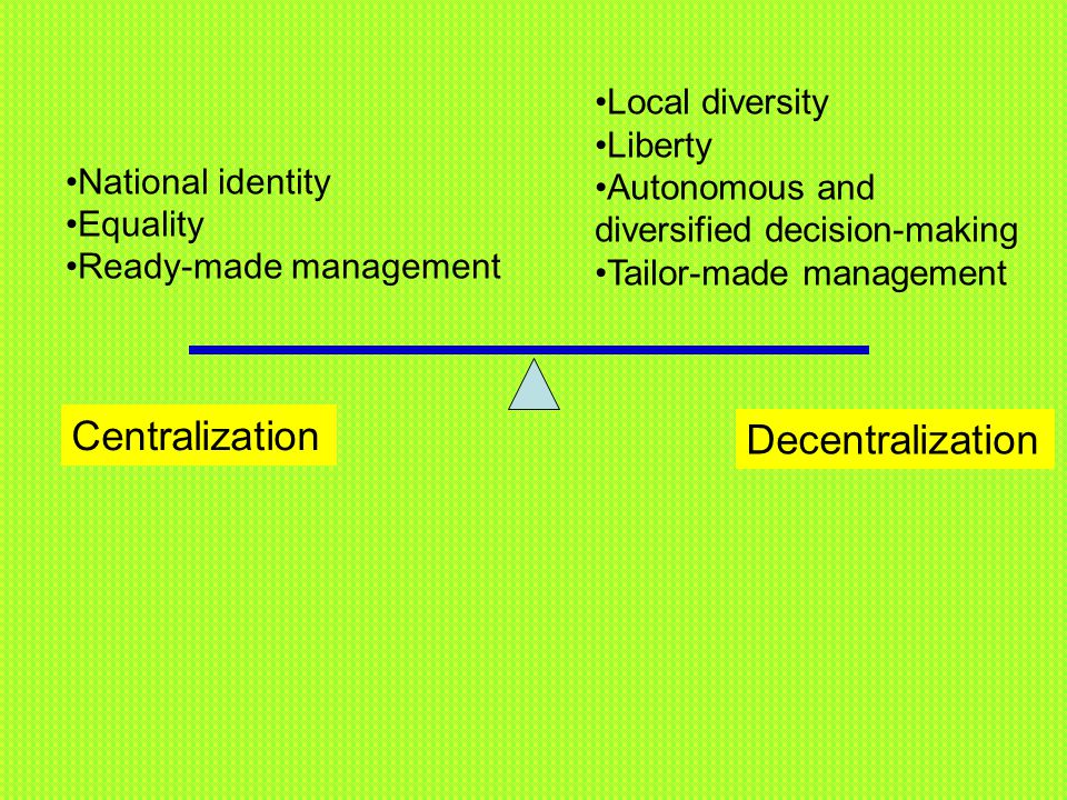 Centralization Decentralization Local diversity Liberty