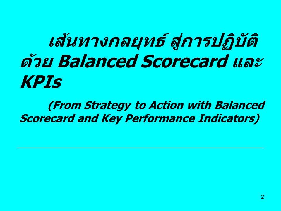 เส้นทางกลยุทธ์ สู่การปฏิบัติด้วย Balanced Scorecard และ KPIs