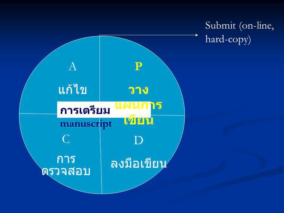 A แก้ไข P วางแผนการเขียน C การตรวจสอบ D ลงมือเขียน