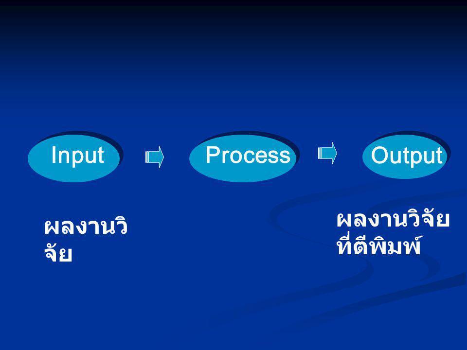 Input Process Output ผลงานวิจัยที่ตีพิมพ์ ผลงานวิจัย