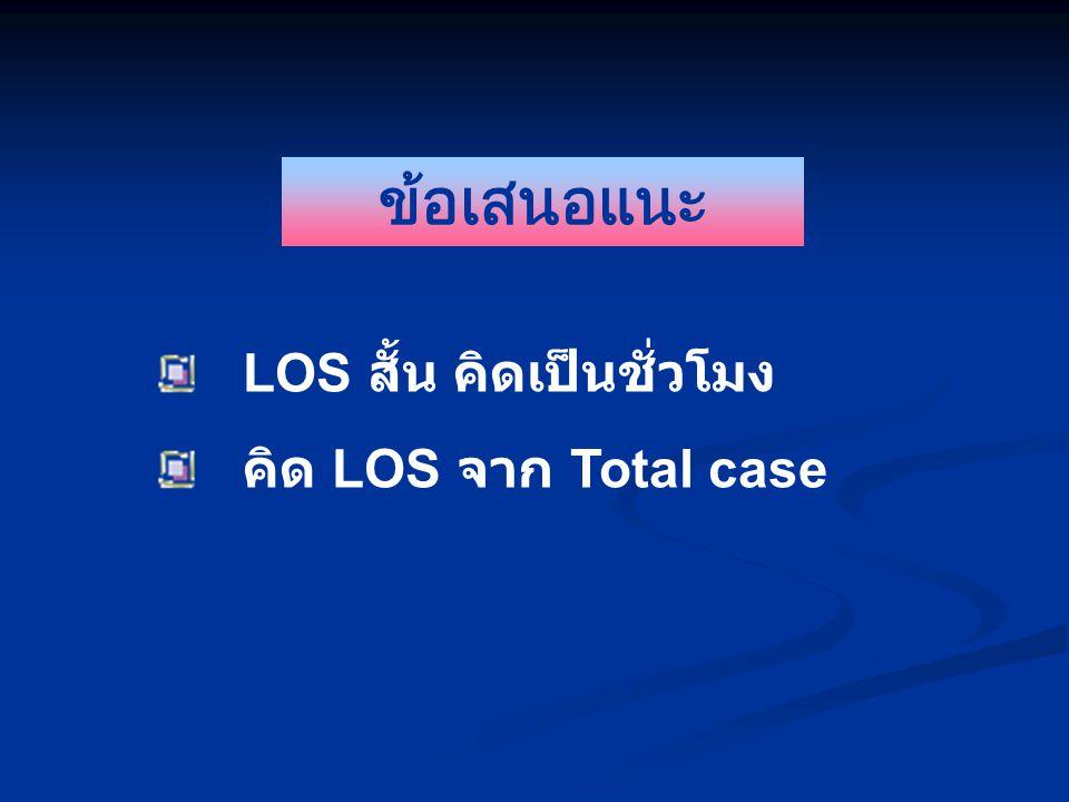 ข้อเสนอแนะ LOS สั้น คิดเป็นชั่วโมง คิด LOS จาก Total case