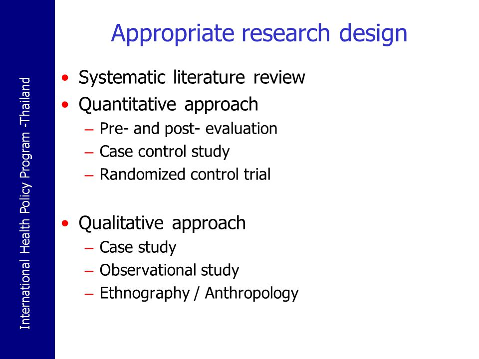 Appropriate research design