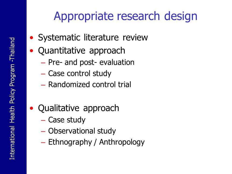 Appropriate research design