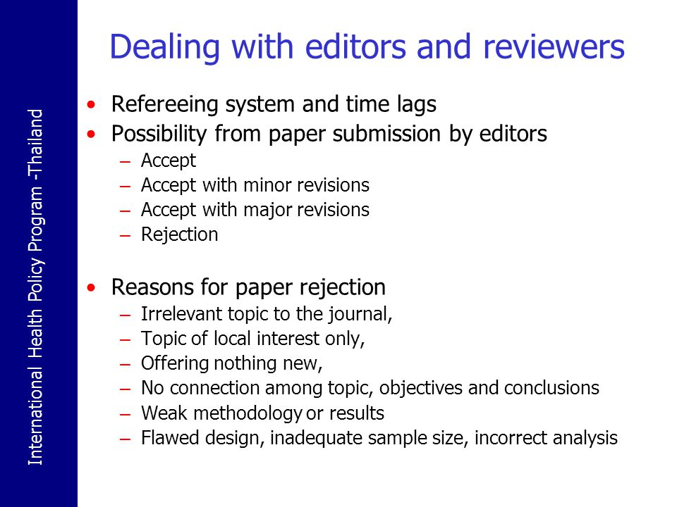Dealing with editors and reviewers