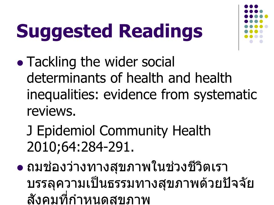 Suggested Readings Tackling the wider social determinants of health and health inequalities: evidence from systematic reviews.