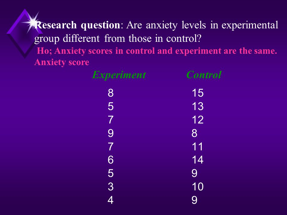 Research question: Are anxiety levels in experimental group different from those in control