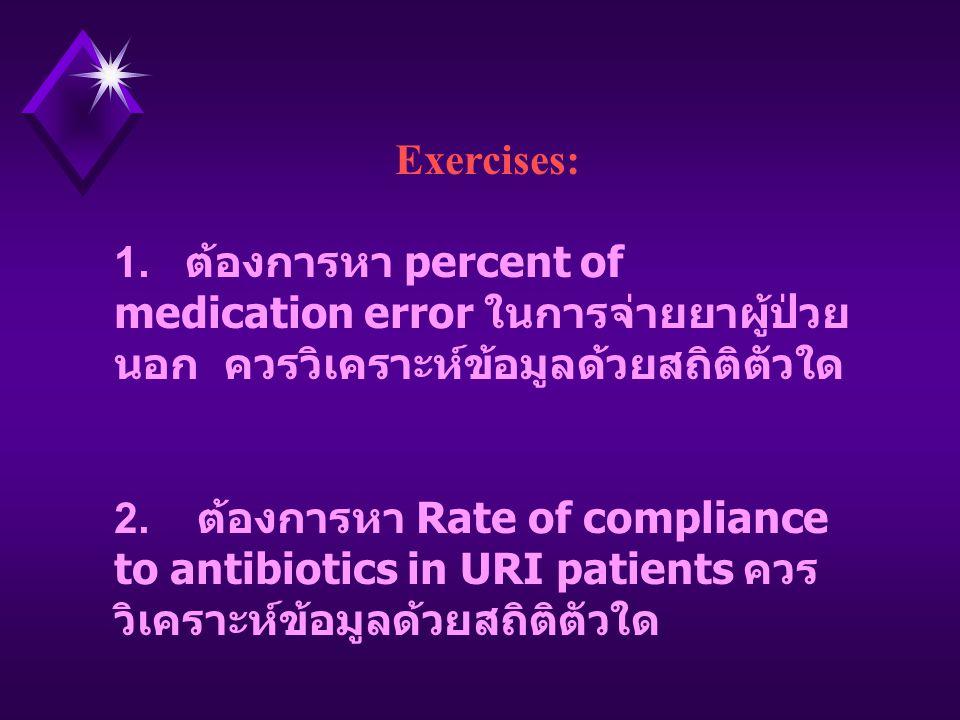 Exercises: 1. ต้องการหา percent of medication error ในการจ่ายยาผู้ป่วยนอก ควรวิเคราะห์ข้อมูลด้วยสถิติตัวใด.
